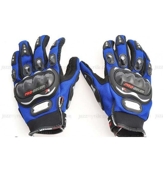 Pro-Biker Riding Gloves - 1 Pair for Bike Motorcycle Scooter Riding - Blue Colour